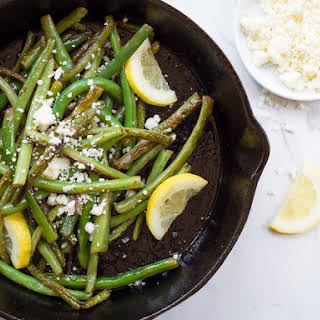 Skillet Seared Green Beans with Lemon and Cotija Cheese.