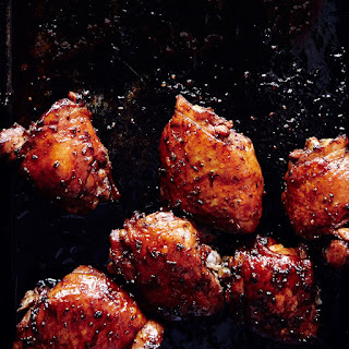 Soy-Glazed Chicken Thighs with Asparagus and Scallions recipe | Epicurious.com.