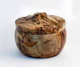 "Photo: Clif Poodry - Lidded Bowl - 4.5"" x 3 x 5"" - Pignut Hickory Burl"