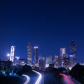 Jackson Street Bridge Blue by Angela Hollowell - Novices Only Landscapes ( night photography, long exposure, cityscape, atlanta, nightscape )
