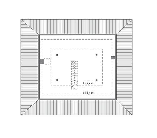 Czterolistna koniczyna - wariant XVIII - C444u - Rzut poddasza Do indywidualnej adaptacji (53,8 m2 powierzchni użytkowej)