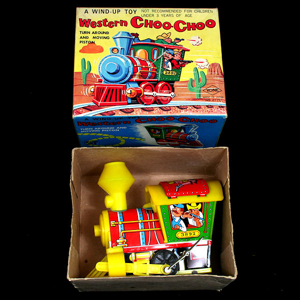 "Photo: Yoneya ""Western Choo-Choo"", Japan.  Action - Clockwork. Fixed key. Large key changes direction.  Visit my blog - Collecting Tin Toys at  http://tinplatetoys.blogspot.co.uk/"