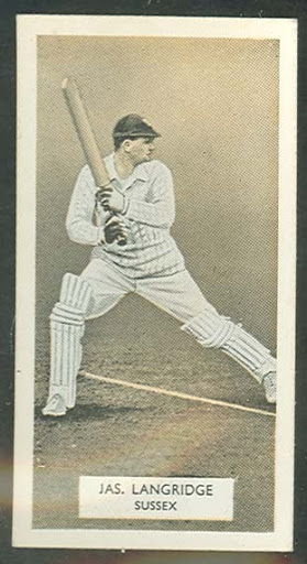 1934 Arcadia Works (Carreras Cigarettes) Series of Cricketers J Langridge trade card