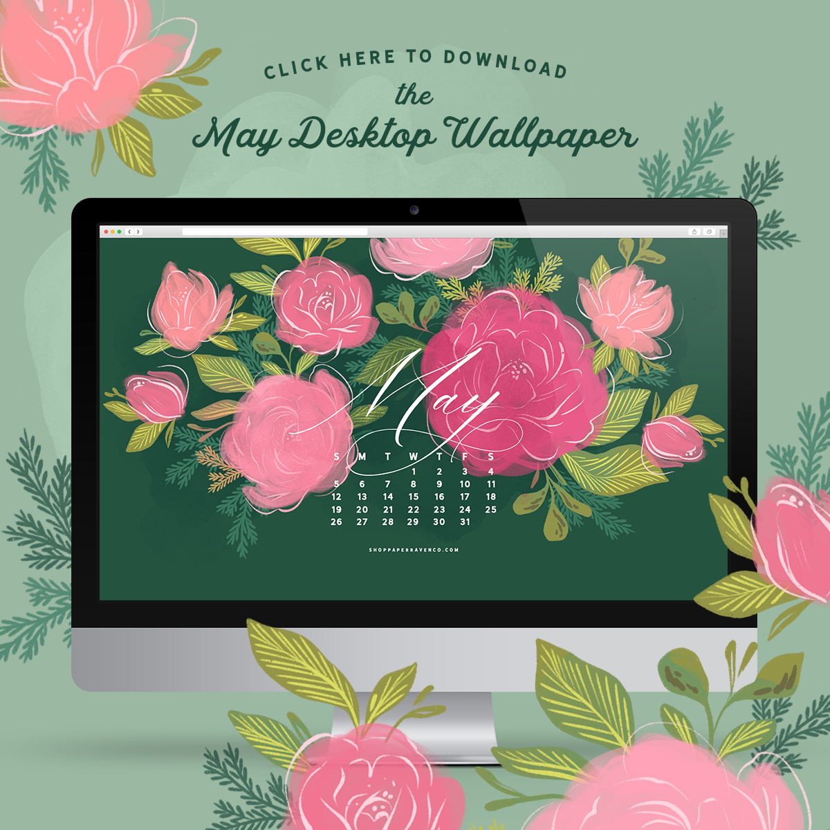May 2019 Illustrated Desktop Wallpaper