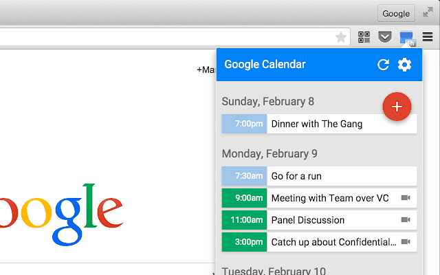 Screenshot of Google Calendar for Chrome