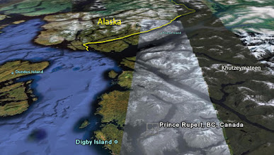 Photo: Perspective view of area north of Prince Rupert showing the location of the Khutzeymateen Grizzly Sanctuary