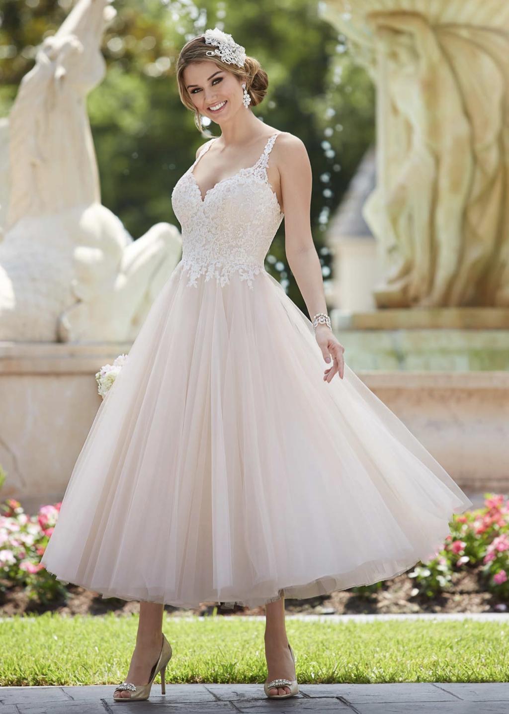 tea-length dress with tulle skirt from Essense of Australia