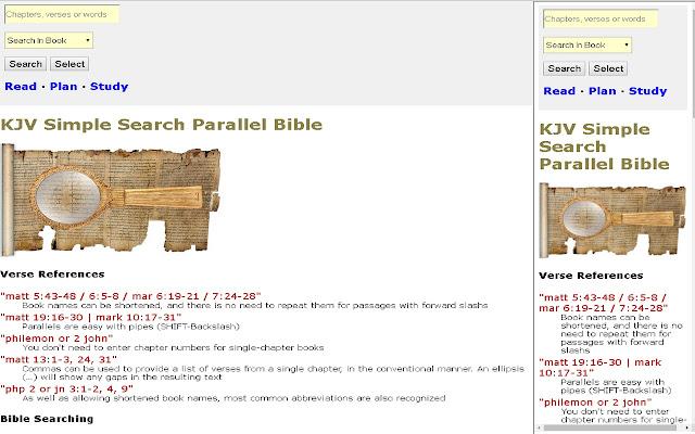 KJV Simple Search Parallel Bible Sidebar