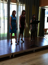 Photo: Vocal trio, The Canterberries, perfoming on the foyer-stage on day five of Summer Music Week.
