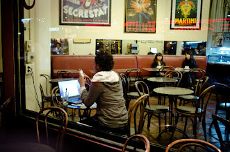 Photo: Another shot from my last trip to SF, a cafè by night, taken with my Fuji X100.