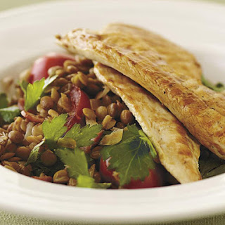 Chicken on Warm Lentil Salad