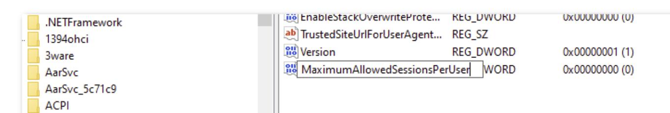 Create MaximumAllowedSessionsPerUser entry in regedit