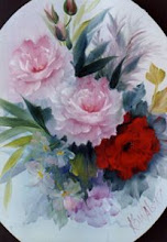 Photo: KP07 Red/Pink Roses Oval (for 18 x 24 canvas) $6.99