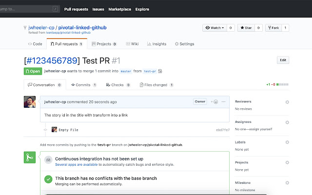 Pivotal Linked Github with Titles