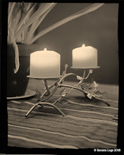Photo: Two candles.  1/4 plate Zeca camera (1925?).  f/8, 8min 42 sec, paper negative and yellow filter. Tinted slightly