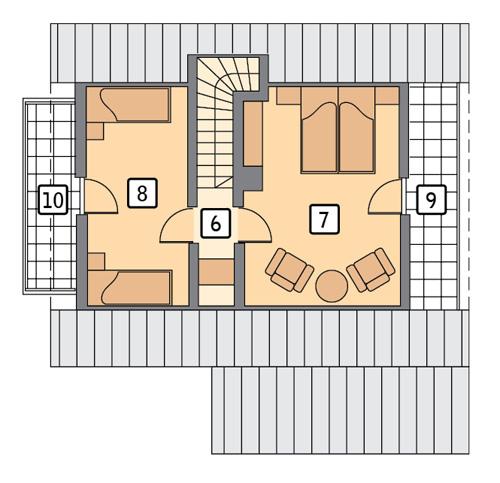 Urlopowy - wariant I (rekreacyjny) - DL13aS - Rzut poddasza
