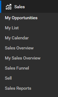ConnectWise Manage Sales menu and submenus