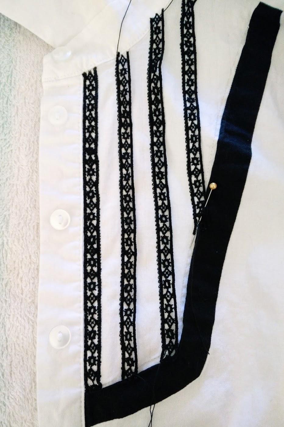 Lace Ribbon Trim Bib Shirt Refashion - DIY Fashion Garments | fafafoom.com
