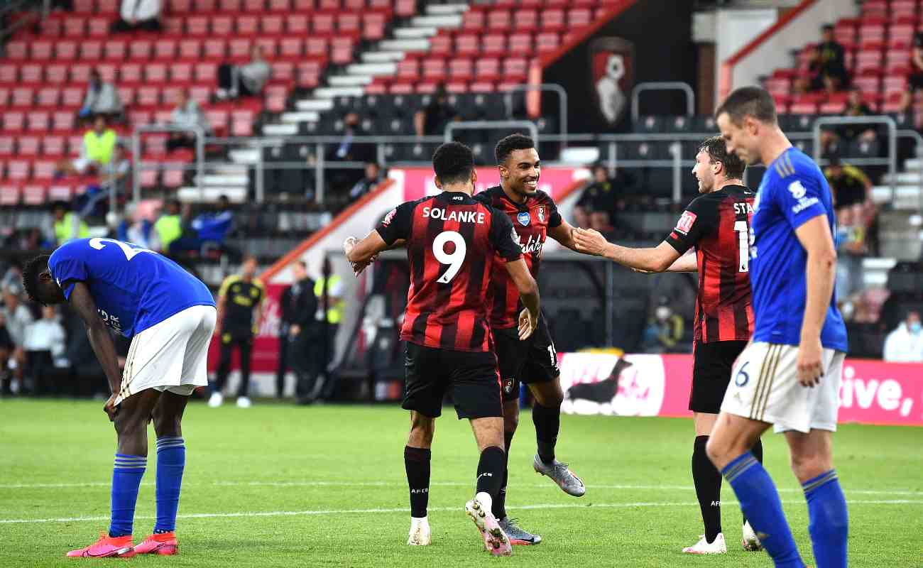 Leicester City defender Jonny Evans looks downcast after his own goal helped Bournemouth to their third goal of the match