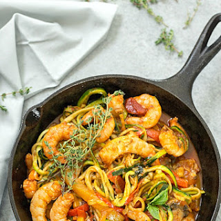 Italian Shrimp and Zucchini Noodles (Zoodles).