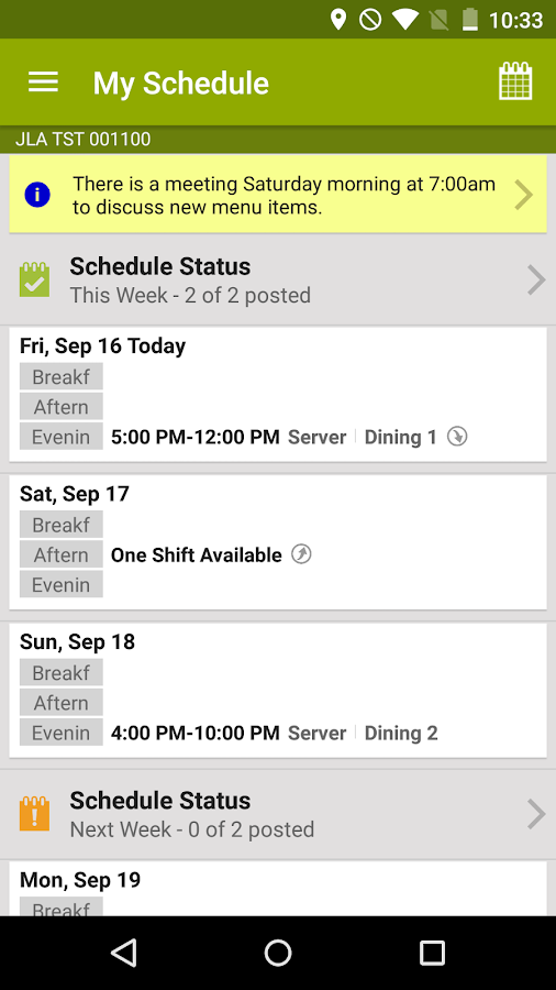 HotSchedules- screenshot