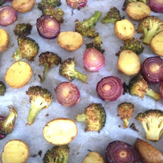 Roasted Broccoli And Potatoes With Red Onions.