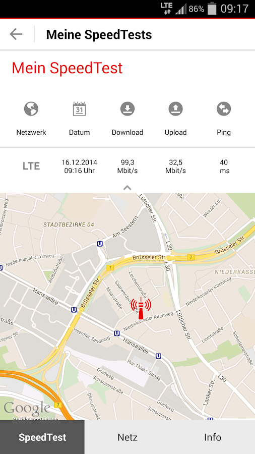 Vodafone SpeedTest - screenshot