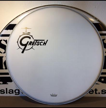 """22"""" Gretsch Frontskinn - Coated White Offset Logo - GRDHCW22O"""
