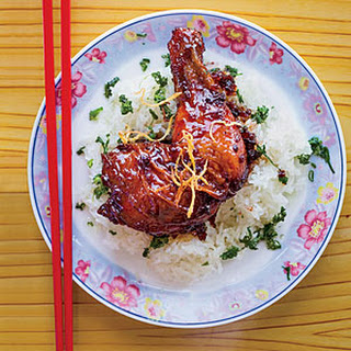 Caramelized Ginger Chicken with Sticky Rice.