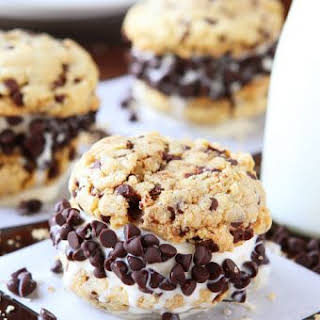 Brown Butter Cake Batter Chocolate Chip Cookie Ice Cream Sandwiches.