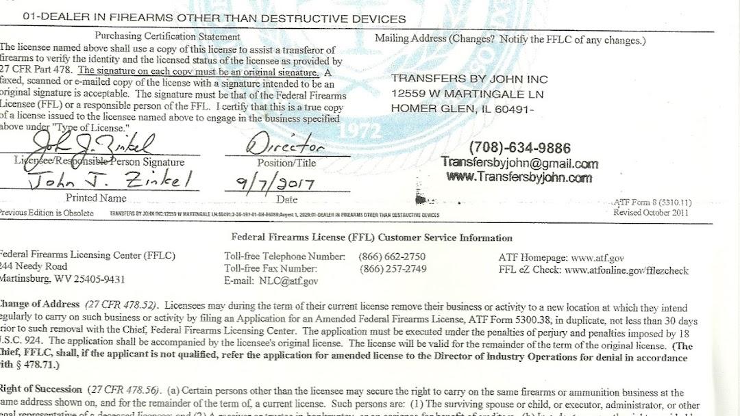 Transfers By John Inc Firearm Transfers In Homer Glen