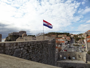 Photo: The Croatian flag flies from the top of the wall.