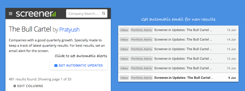 Automatic alerts for screens