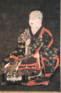 日蓮聖人画像、南北朝室町時代写 麻布着色 一幅