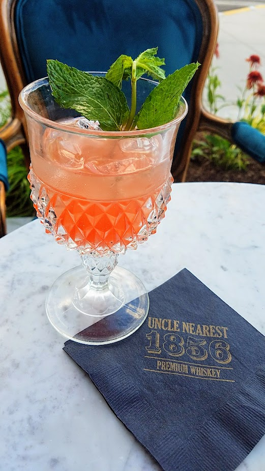 Uncle Nearest Whiskey cocktail The Fiddler's Punch with Uncle Nearest 1856 Premium Whiskey, Aperol, Brutto Americano, Watermelon, Pineapple, Mint