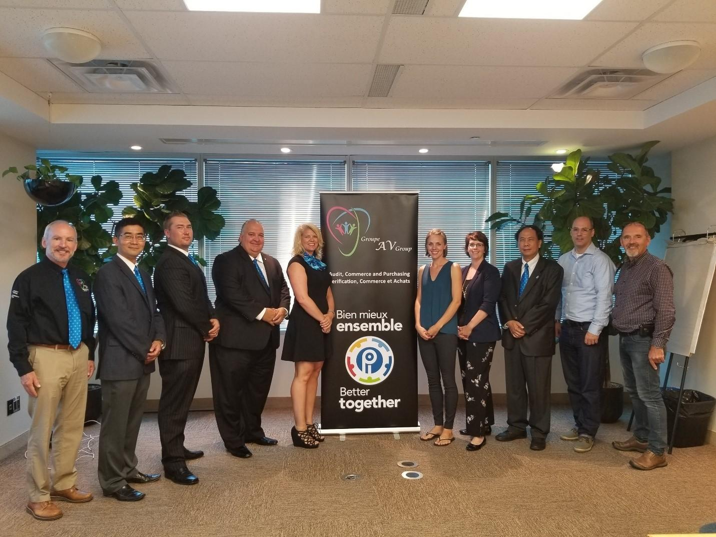L to R; Gord Sanford, Jason Huang, James Bright, Peter Gabriel – President and Chair, Andree Doucet, Cara Ryan – Negotiator, Allison Shatford – Treasury Board Staff Negotiator, Raymond Poon, Philippe Bougie – TBS OSB, Gerry Morrisey