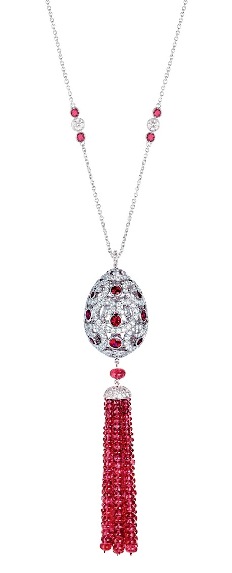 Impératrice ruby tassel pendant, featuring round rubies, round white diamonds, and ruby beads, set in 18k white gold
