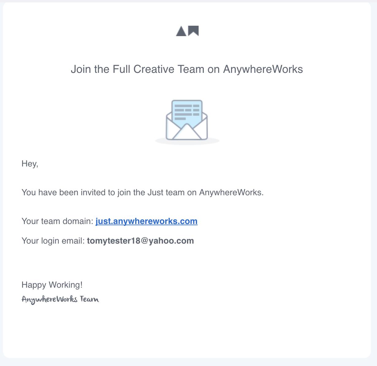Team member invite