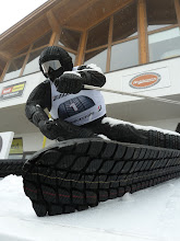 "Photo: Tyre Art Grip, ""Perfect Route "" Bodenhaftung, die Skulptur aus Reifen zeigt anschaulich die BRIDGESTONE Winterreifen Werbeaussage SOME SEE A BLIZZARD. WE SEE A SNOW DAY. Blizzak tires bite into snow and ice,  giving you increased confidence in winter's worst conditions."