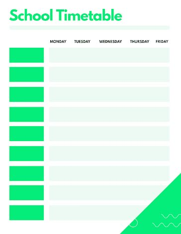 Bright School Timetable - Weekly Planner template