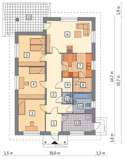 Własny dom - C303 - Rzut parteru