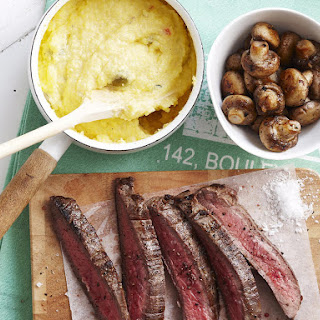 Skirt Steak with Balsamic Mushrooms and Olive Polenta