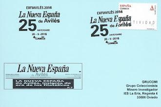 Photo: Tarjeta del matasellos de EXFIAVILES 2016 dedicada a los 25 años de La Nueva España en Avilés