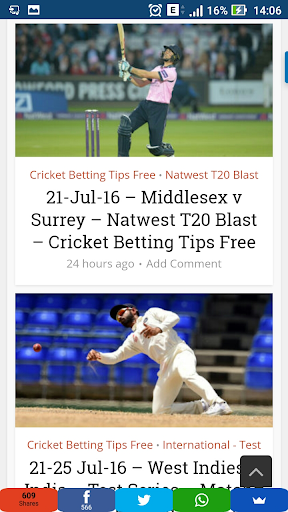 Free Cricket Betting Tips | Cricket Match Rate | Live Cricket Session Tips and News