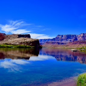 Deep Blues of the Colorado by Santford Overton - Landscapes Waterscapes ( water, mountains, nature, blue, colors, reflections, landscapes, river,  )