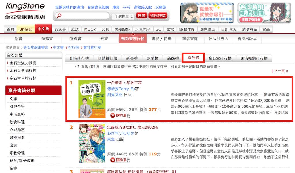 金石堂網路書店竄升榜第一名!