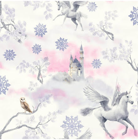 Enhörning tapet Imagine Fun Fairytale Unicorn Tapet Rosa
