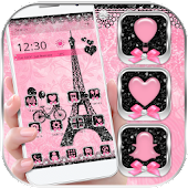 Rose Pink Paris Eiffel Tower Launcher Theme