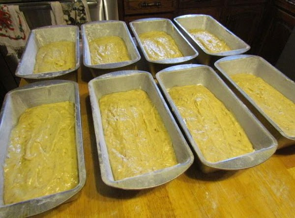 After everything is mixed, fill your prepared pans about 1/2 full.