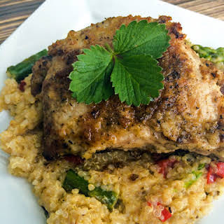 Lemon Thyme Pork Chops with Quinoa, Asparagus & Red Peppers.
